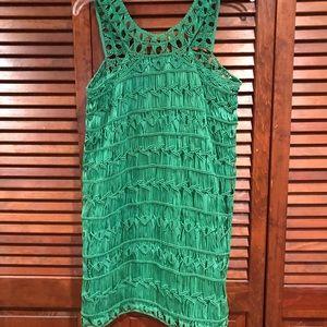 GREEN CROCHET DRESS.